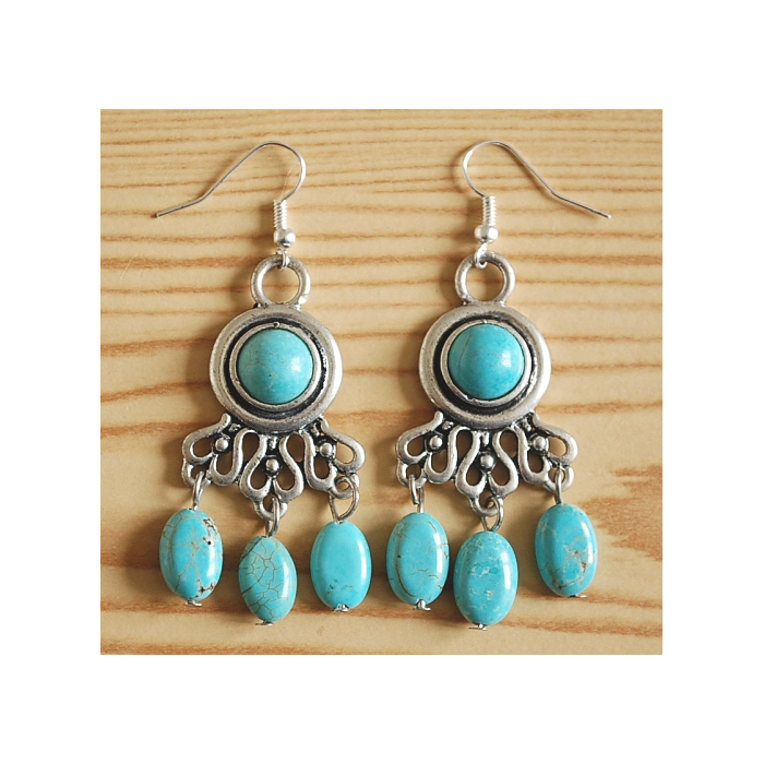 Boucles d'oreilles Turquoise Chandelier Country Western