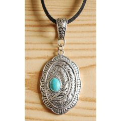 Collier Pendentif Oval Plume Cabochon Turquoise Country Western