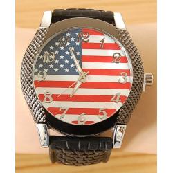 Montre Bracelet Silicone USA - Gros cadran - Noir - Country Western