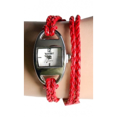 Montre Bracelet 2 Tours Lacet Rouge - Country Western