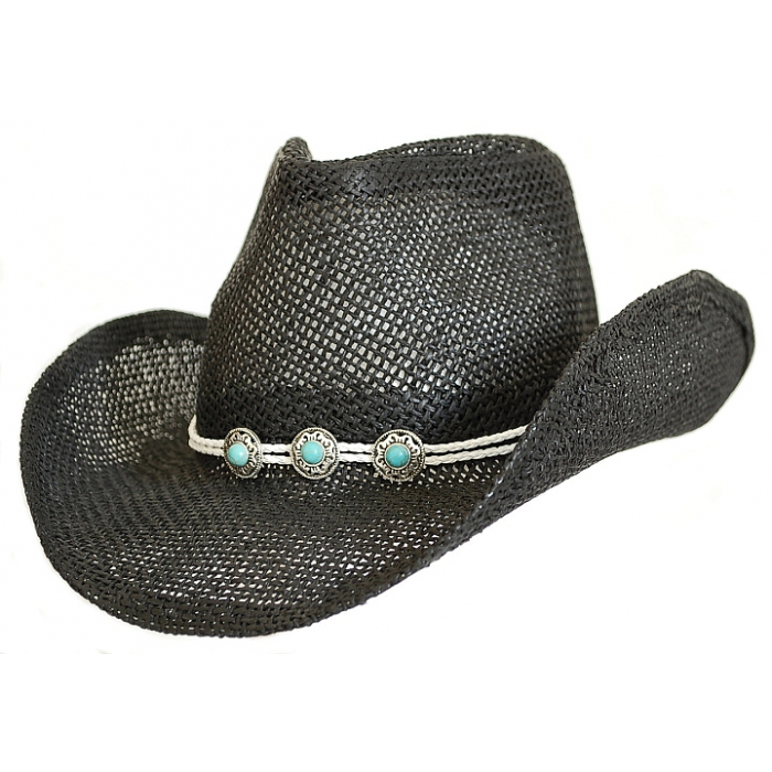 Bourdalou Lanière Blanche - Concho Ronds Turquoise - Country Western