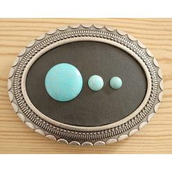 Boucle de Ceinture Cabochon Turquoise Howlite Classique Country Western