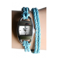Montre Bracelet 2 Tours Lacet Turquoise - Country Western