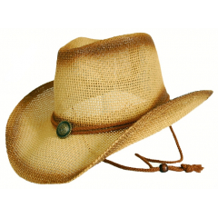 Chapeau Country Western Havane Marron Bourdalou Jugulaire