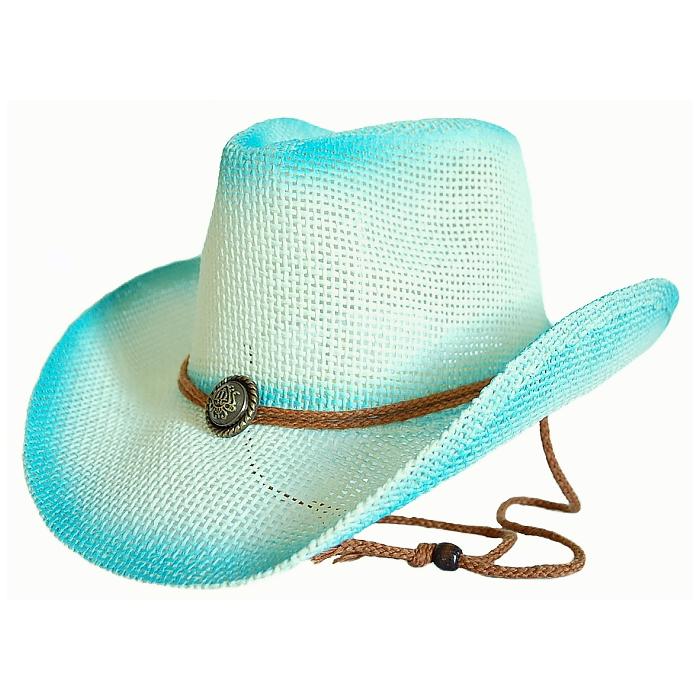 Chapeau Country Western Bleu Turquoise Blanc Cassé Bourdalou Jugulaire