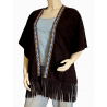 Gilet Poncho Franges Noir Country Western Cowboy