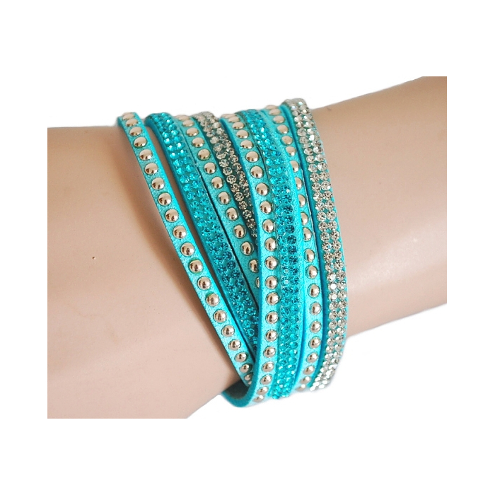 Bracelet Suédine Turquoise Multi Rangs Strass Country Western