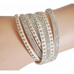 Bracelet Suédine Blanc Multi Rangs Strass Country Western
