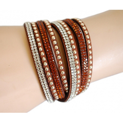Bracelet Suédine Marron Multi Rangs Strass Country Western