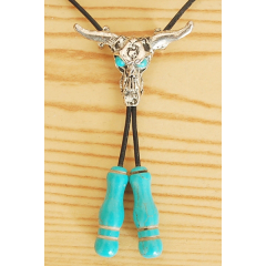 Collier Pendentif Bolo Tie Crâne Buffle et Pierres Howlite Turquoise Country Western