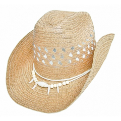 Chapeau Country Western Havane Claire Perles