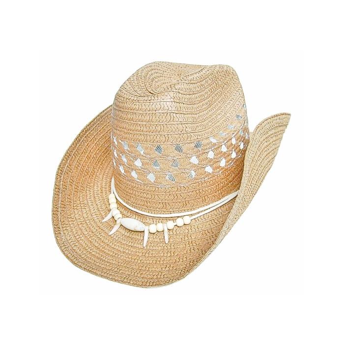Chapeau Country Western Havanne Perles