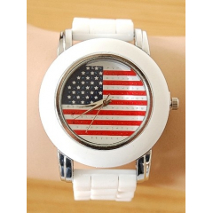 Montre Bracelet Silicone Drapeau USA Ronde Blanc - Country Western