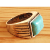 Bague Turquoise Vintage Rectangle Country Western