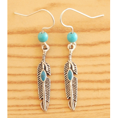 Boucles d'oreilles Plumes Métal Turquoise Perles Turquoise Country Western