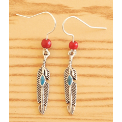 Boucles d'oreilles Plumes Métal Turquoise Perles Rouge Country Western