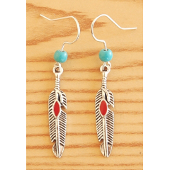 Boucles d'oreilles Plumes Métal Rouge Perles Turquoise Country Western