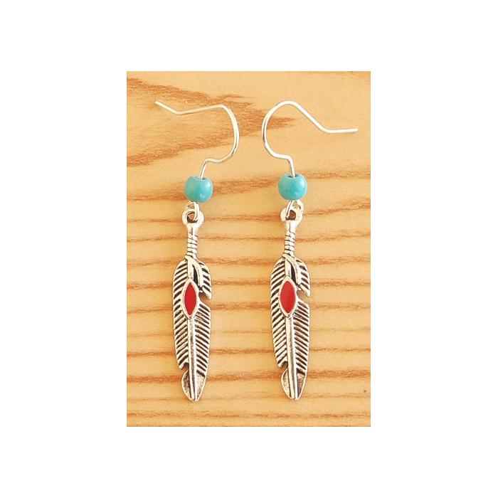 Boucles d'oreilles Plumes Métal Rouge Perles Turquoise Country Western