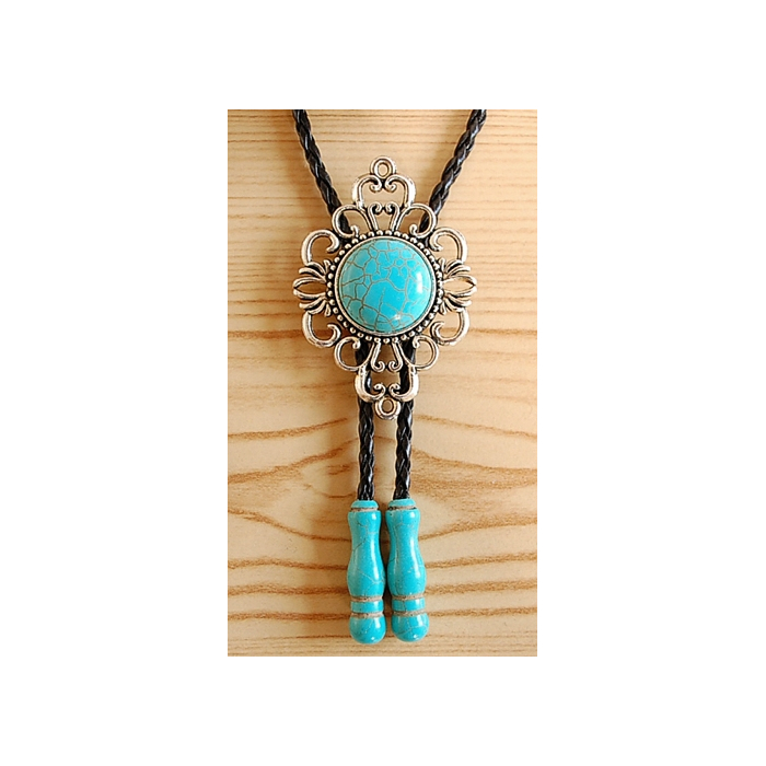 Bolo Tie Femme Filigranne Cabochon et Embouts Turquoise Country Western