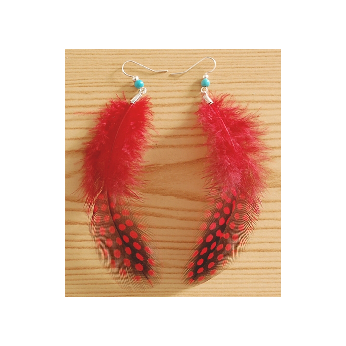 Boucle d'oreilles Plumes Rouge et Perle Turquoise Country Western