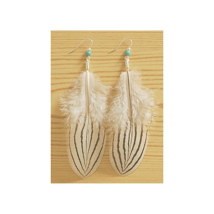 Boucle d'oreilles Plumes Blanc Noir et Perles Turquoise Country Western