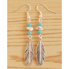 Boucles d'oreilles Perles Turquoise Grand Aigle Country Western