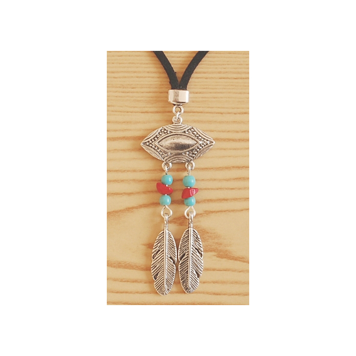 Collier Pendentif Turquoise Grand Aigle Country Western