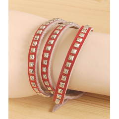 Bracelet 3 Tours Clous Rouge Country Western