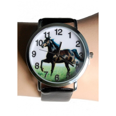 Montre Bracelet Noir Cheval - Country Western