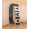 Bracelet Cuir Noir Deux Tours Etoiles Star Country Western Cowboy