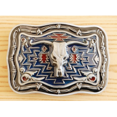Boucle de Ceinture Rectangle Longhorn Buffle Country Western
