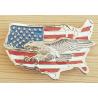 Boucle de Ceinture Aigle Carte Drapeau USA Country Western