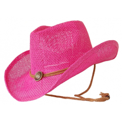 Chapeau Country Western Cowboy Rose Bourdalou Jugulaire