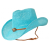 Chapeau Country Western Cowboy Turquoise Bourdalou Jugulaire