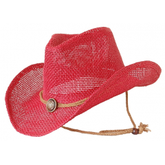 Chapeau Country Western Cowboy Rouge Bourdalou Jugulaire