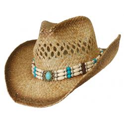 Chapeau de Paille Country Western Cowboy Bourdalou Pierre Turquoise