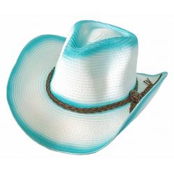 Chapeau Country Western Cowboy Turquoise et Blanc Bourdalou Tressé