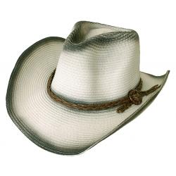 Chapeau Country Western Cowboy Noir et Blanc Cassé Bourdalou Tressé