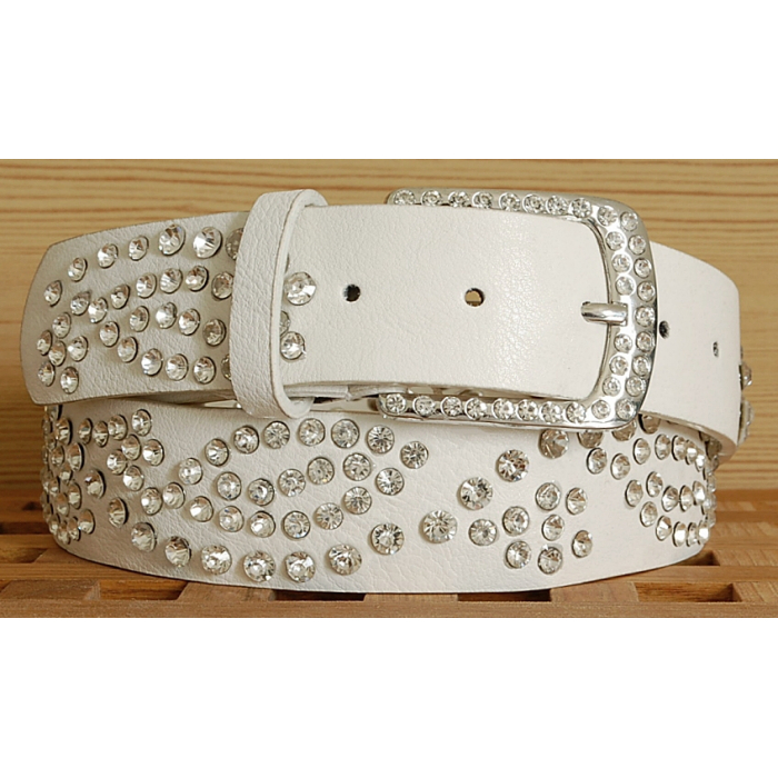 Ceinture Femme Blanc Rivets Boucle Strass Country Western