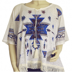 T-shirt Tunique Ample Femme Blanc et Bleu Country Western
