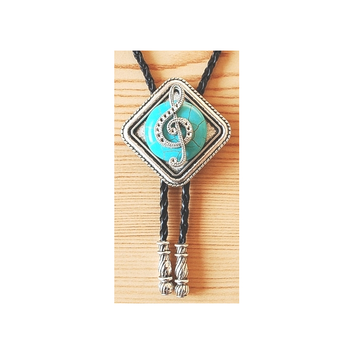 Bolo Tie Turquoise Motif Musique Embouts Métal Country Western