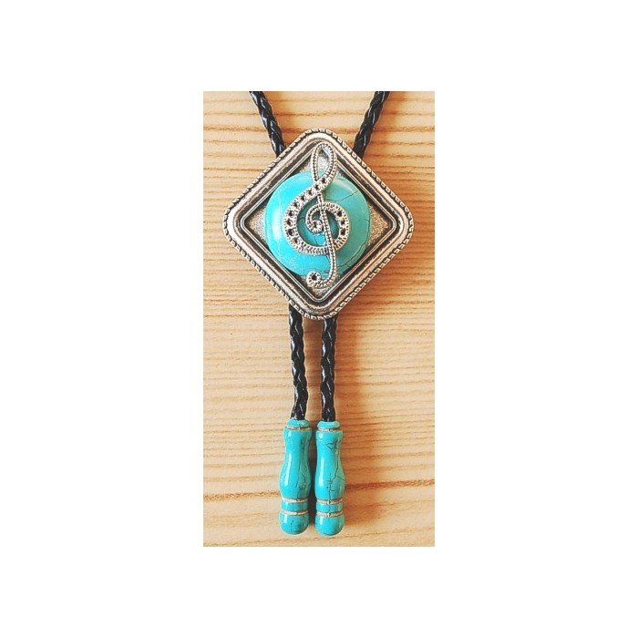 Bolo Tie Turquoise Motif Musique Embouts Turquoise Country Western