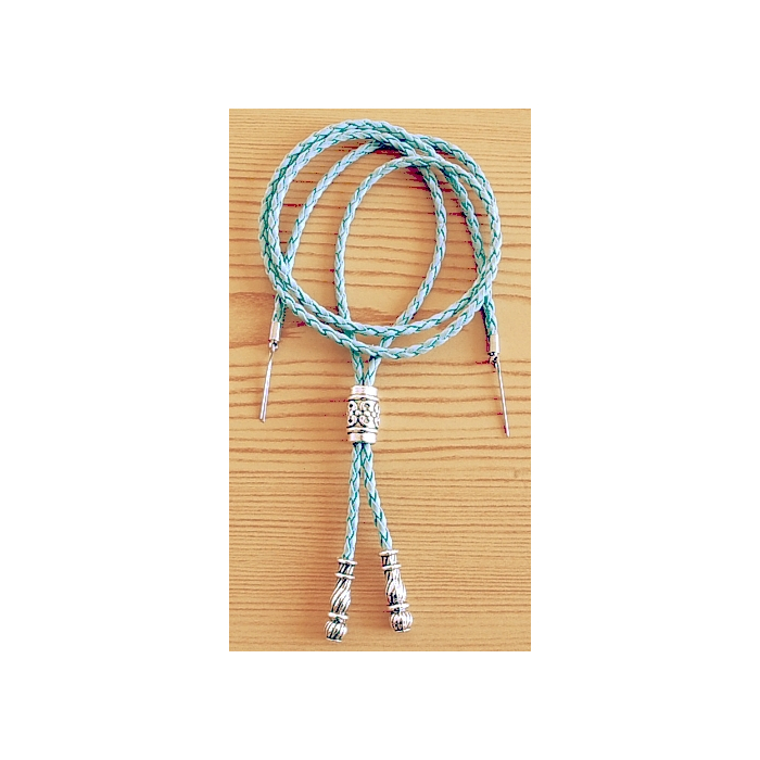 Cordon Jugulaire - Perle Tube Métal - Bleu - Country Western