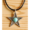 Collier Pendentif Etoile Cabochon Turquoise Country Western