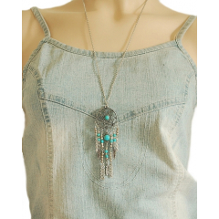 Collier Pendentif Sautoir Dreamcatcher Perles Turquoise Country Western