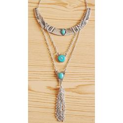 Collier Pendentif Sautoir Chaine Croissant de Lune Pierres Turquoise Country Western