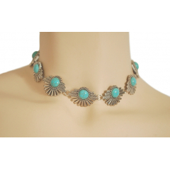 Collier Ras de Cou Pierres Turquoise Cabochon Country Western