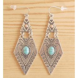 Boucles d'oreilles Geometrique Losange Turquoise Country Western