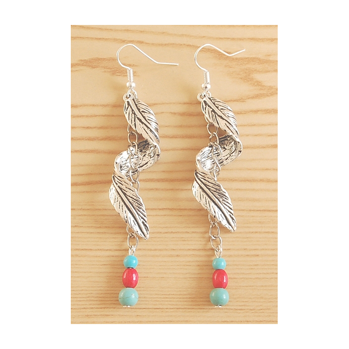 Boucles d'oreilles Pendant Longues Plumes Turquoise Country Western