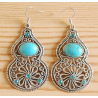 Boucles d'oreilles Calebasse Turquoise Brillant Country Western